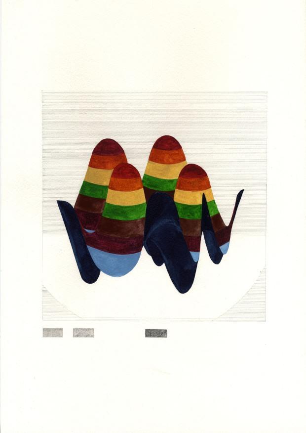 Marie von Heyl (*1981), Disentanglement 4, 2011, Aquarell und Bleistift auf Papier 30 x 40 cm, Rückseitig signiert und datiert
