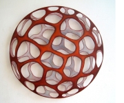 Ute Haecker, Planet XXI, 2011, Holzplatte und Acryl