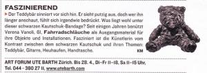 Artikel zur Ausstellung von Verena Vanoli in der Galerie ART FORUM UTE BARTH (Schweizer Illustrierte 10.April 2012)