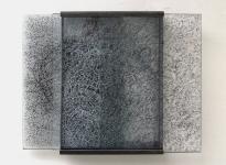 Peter Wechsler, Glasarbeit 2009, Glasplatten, Schwarzlot, Eisen, 35 x 27cm