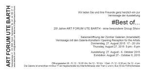 Einladungskarte Galerie Ute Barth August 2015