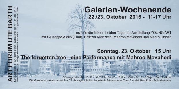 Mahroo Movahedi Performance in der Galerie ART FORUM UTE BARTH Zürich