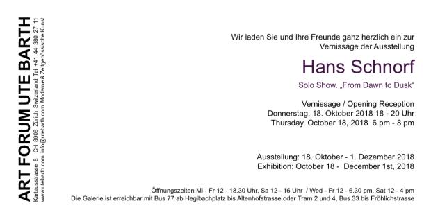 Hans Schnorf Art Forum Ute Barth Einladungskarte