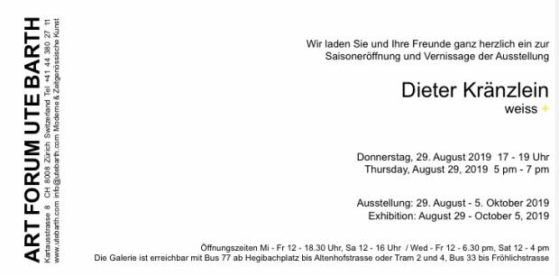 Dieter Kränzlein Solo Show in der Galerie Ute Barth, Zürich 2019