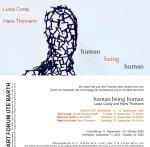 Einladungskarte Human being Human mit Lucia Coray & Hans Thomann @ Galerie Ute Barth, Zürich