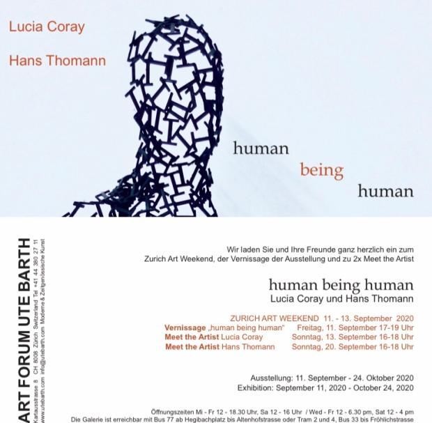 Einladungskarte Human being Human mit Lucia Coray und Hans Thomann bei Ute Barth, Zürich